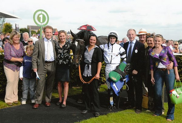 winning owners with Heather Main. photo copyright Les Hurley